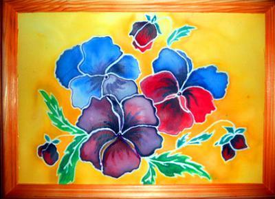 Картина в технике холодный батик Цветочная фантазия